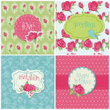 Set of Colorful Cards with Rose Elements Royalty Free Stock Photography