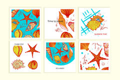 Set of colorful cards with seashells. Creative doodle posters for wedding, anniversary, birthday, Valentin`s day, party invitations, web, print. Trendy style Stock Photos