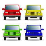 Set of colorful cars. front view Stock Photo