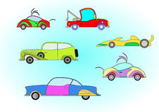 Set of colorful cars. Set of colorful funny looking cartoon cars stock illustration