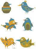 Set of colorful cartoon birds. Royalty Free Stock Photos