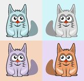 Set colorful cartoon cats Stock Images