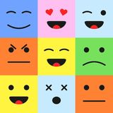 Set of colorful cartoon faces emoticons. Cartoon style smiles. In flat style Stock Photo