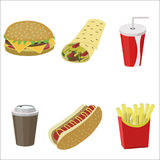 Set of colorful cartoon fast food icons. Burger, cola, roll, french fries, coffee, hot dog vector illustration