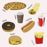 Set of colorful cartoon fast food icons. Flat style vector illustration Royalty Free Stock Photos