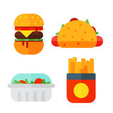 Set of colorful cartoon fast food icons isolated restaurant tasty american cheeseburger meat and unhealthy burger meal Stock Photos