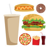 Set of colorful cartoon fast food icons. Isolated vector Stock Photos