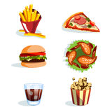 Set of colorful cartoon fast food icons. Stock Photos