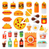 Set of colorful cartoon fast food icons  restaurant tasty american cheeseburger meat and unhealthy burger meal Stock Image