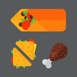 Set of colorful cartoon fast food icons  restaurant tasty american sandwich meat and unhealthy burger meal Royalty Free Stock Photos