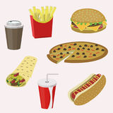 Set of colorful cartoon fast food icons. Vector illustration stock illustration