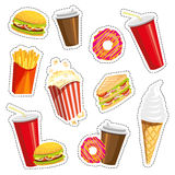 Set of colorful cartoon fast food icons on white background. Isolated vector illustration. Fashion patch, badges. Stickers, pins, quirky. 80s-90s style. Trend Royalty Free Stock Photo