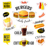 Set of colorful cartoon fast food labels, isolated on white. Vector illustration, eps10. Royalty Free Stock Photo