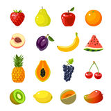 Set of colorful cartoon fruit icons Royalty Free Stock Image