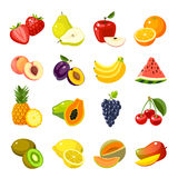 Set of colorful cartoon fruit icons Royalty Free Stock Images