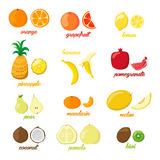 Set of colorful cartoon fruit icons pear, orange, banana, pineapple, kiwi, lemon, lime. Vector illustration, isolated on Royalty Free Stock Images