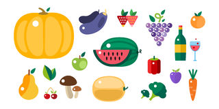 Set of colorful cartoon fruit icons vector illustration. Stock Photography