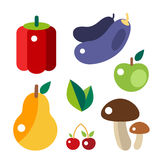 Set of colorful cartoon fruit icons vector illustration. Stock Image