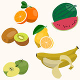 Set of colorful cartoon fruit icons. Vector illustration isolated on white stock illustration