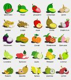 Set of colorful cartoon fruit icons Watermelon,Mango,Strawberry,Cantaloupe,,Apple, Papaya,Orange,Pomegranate,Rose apple,Guava,Pin stock illustration