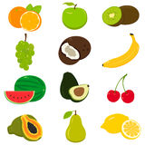 Set of colorful cartoon fruit icons  on white. Vector Stock Images