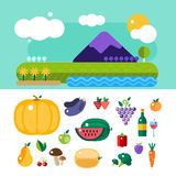 Set of colorful cartoon fruit and mountains vector illustration. Set of colorful cartoon fruit icons vector illustration. Exotic group diet vegetarian food mix stock illustration