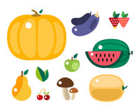 Set of colorful cartoon fruit and vegetables icons vector illustration. Set of colorful cartoon fruit icons vector illustration. Exotic group diet vegetarian Royalty Free Illustration