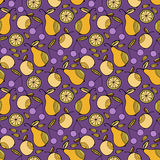 Set of colorful cartoon fruits. Colorful Seamless Pattern. Stock Images