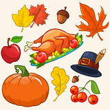 Set of colorful cartoon icons for thanksgiving day Stock Photo