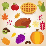 Set of colorful cartoon icons for Thanksgiving day. Turkey, pie, broccoli, apple, corn, pumpkin, grapes, peppers, chestnuts, acorns, fall leaves, berries Stock Photography