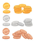 Set of colorful cartoon metal resources, coins of gold, bronze and silver for the design of mobile games and browser-based online Royalty Free Stock Photos