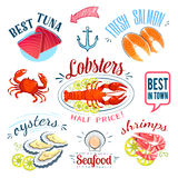 Set of colorful cartoon seafood labels: tuna, salmon, lobster, oysters and shrimps, isolated on white. Royalty Free Stock Images
