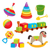 Set of colorful, cartoon style baby toys, kid items Royalty Free Stock Images