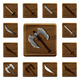 Set of colorful cartoon wooden icons with various types of weapons from different metals and materials for the design of mobile ga Stock Image