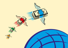 Set of Colorful Cash with wings swiftly fly over a blue globe. Bundles of money, each with different color, flies over a blue globe. Remittances and other vector illustration