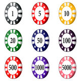 Set of colorful casino chips  on a white background. Royalty Free Stock Photos