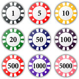 Set of colorful casino chips  on a white background. Royalty Free Stock Images