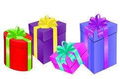 Set of colorful celebration gift boxes. Vector illustration royalty free illustration