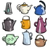 Set of colorful ceramic teapots and plastic or metal kettle. Kitchen pots. Cartoon style. Vector illustration on white background stock illustration