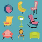 Set of colorful chairs interior detail. Royalty Free Stock Photo