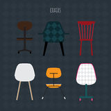 Set of colorful chairs. Vector flat illustration. Royalty Free Stock Images