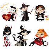 Set of 6 colorful characters on Halloween Stock Photos