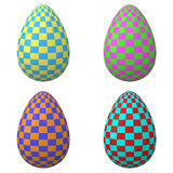 Set of colorful checker pattern Easter eggs, 3d Stock Image
