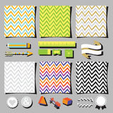 Set of colorful chevron pattern square cards design elements Royalty Free Stock Images