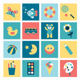 Set of colorful child flat icon. Stock Image