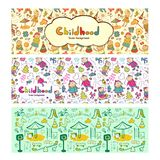 Set colorful children banners in cartoon style Royalty Free Stock Photos