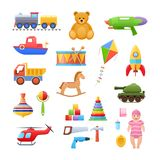 Set of modern colorful children s toys. Toys educational, sports, developing. Set colorful children s toys cartoon. Toys for child to play. Store, garden, home Royalty Free Stock Images