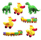 Set of colorful children's toys: duck, dino, train isolated. On white background. 3D Illustration vector illustration
