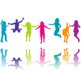 Set of colorful children silhouettes jumping Royalty Free Stock Photo