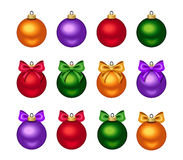 Set of colorful Christmas balls with bows. Vector illustration. Royalty Free Stock Image